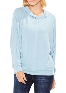 Vince Camuto Dolman-Sleeve Brushed Jersey Center Front Seam Hoodie
