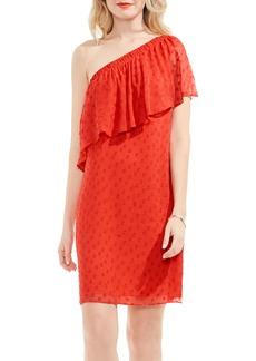 Vince Camuto Dot Jacquard One-Shoulder Dress