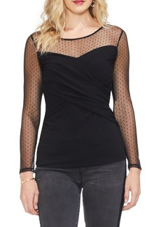 Vince Camuto Dot Mesh Yoke Top