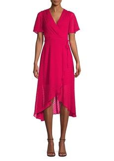 Vince Camuto Dotted Flounce-Sleeve Wrap Dress