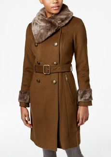 Vince Camuto Double-Breasted Faux-Fur-Collar Walker Coat