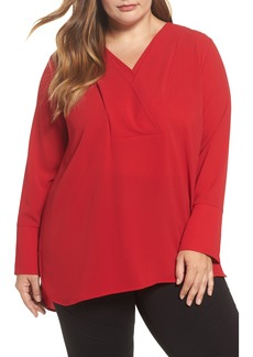 Vince Camuto Double V-Neck Blouse (Plus Size)