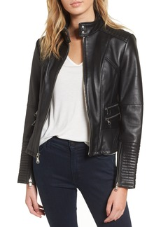Vince Camuto Double Zip Leather Moto Jacket