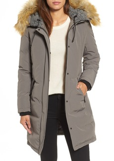 Vince Camuto Down & Feather Fill Parka with Faux Fur Trim