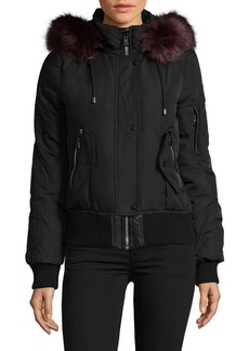 Vince Camuto Down-Filled Snap Faux Fur Bomber Coat