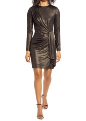Vince Camuto Draped Metallic Long Sleeve Cocktail Dress