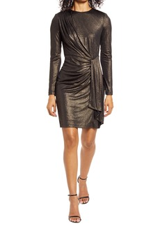 Vince Camuto Draped Metallic Long Sleeve Cocktail Dress