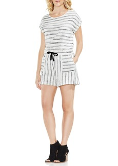 Vince Camuto Drawstring Stripe Cotton Blend Shorts