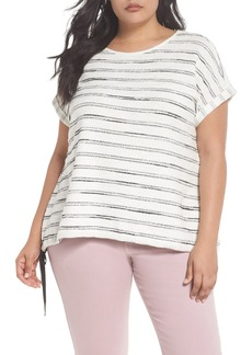 Vince Camuto Drawstring Waist Nubby Stripe Top (Plus Size)