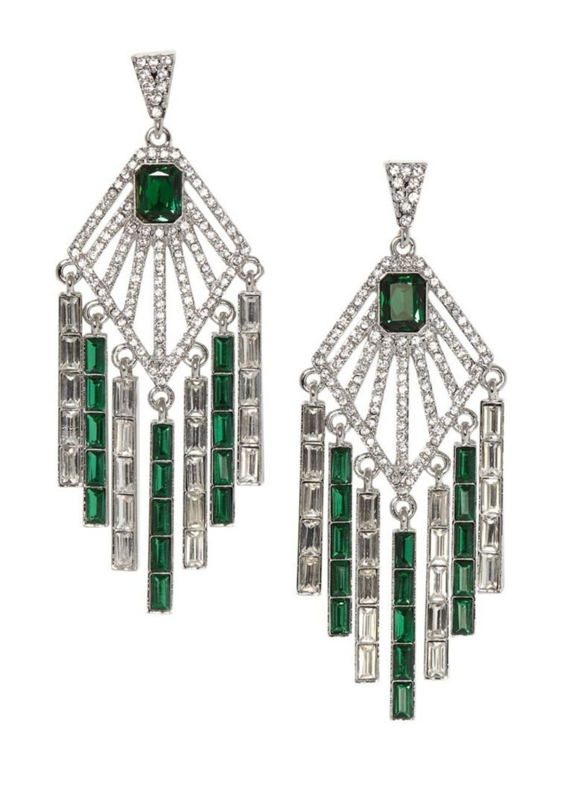 Vince Camuto Dream in Green Silvertone & Crystal Accents Chandelier Earrings