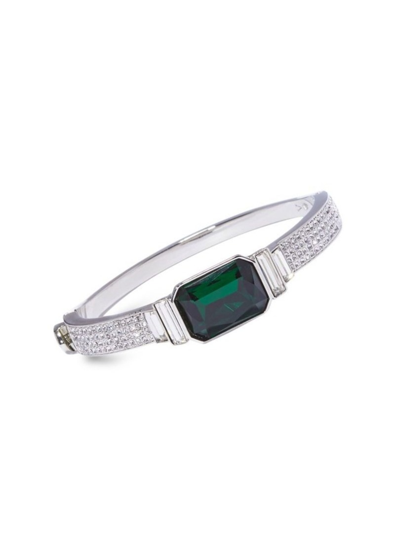 Vince Camuto Dream in Green Silvertone & Crystal Hinge Bangle Bracelet