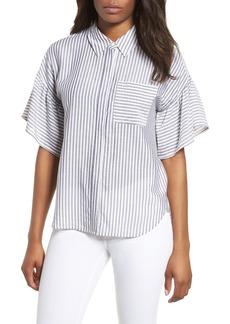 Vince Camuto Drop Shoulder Flutter Sleeve Stripe Shirt