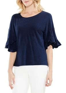 Vince Camuto Drop Shoulder Tiered Ruffle Sleeve Top