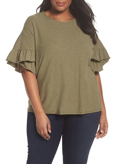 Vince Camuto Drop Shoulder Tiered Ruffle Sleeve Top (Plus Size)