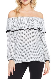 Vince Camuto Droplet Geo Ruffled Off the Shoulder Top