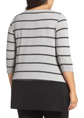 Vince Camuto Duet Stripe Contrast Hem Top (Plus Size)