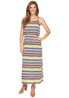 Vince Camuto Elastic Waist Jagged Stripe Maxi Dress