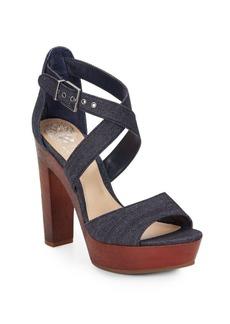 Vince Camuto Eliza Denim & Wood Platform Sandals