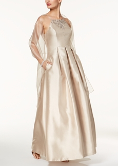 Vince Camuto Embellished Apron Gown & Shawl