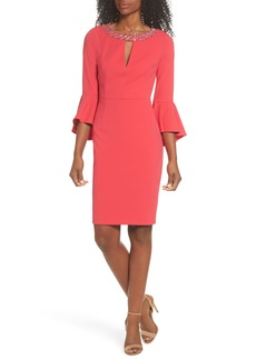 Vince Camuto Embellished Bell Sleeve Sheath Dress