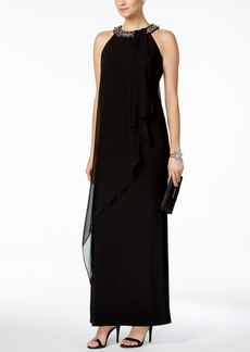 Vince Camuto Embellished Chiffon-Overlay Gown