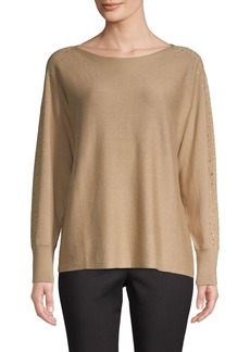 Vince Camuto Embellished Cotton-Blend Sweater