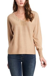 Vince Camuto Embellished Cotton Blend V-Neck Sweater