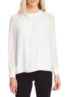 Vince Camuto Embellished Front Chiffon Sleeve Top
