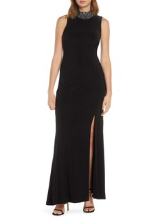 Vince Camuto Embellished High Neck Jersey Gown