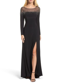 Vince Camuto Embellished Jersey Gown