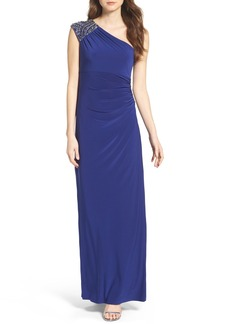 Vince Camuto Embellished Jersey One-Shoulder Gown