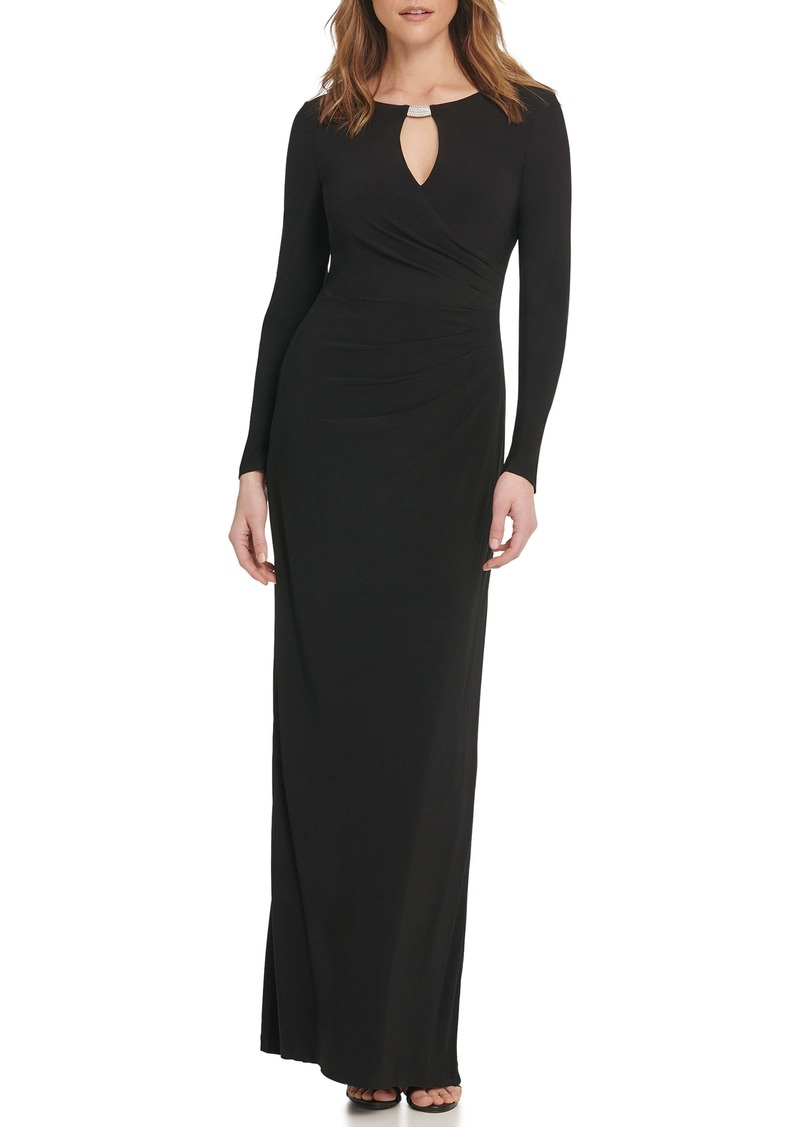 Vince Camuto Embellished Long Sleeve Column Gown