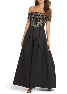 Vince Camuto Embellished Off the Shoulder Ballgown