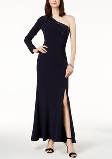 Vince Camuto Embellished One-Shoulder Gown