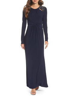 Vince Camuto Embellished Ruched Waist Gown