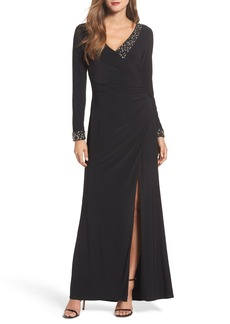 Vince Camuto Embellished Side Tuck Jersey Gown