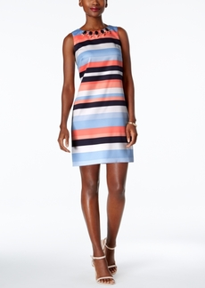 Vince Camuto Embellished Striped Shift Dress