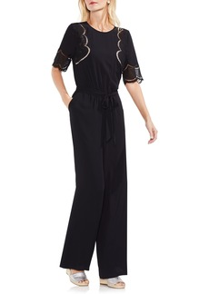 Vince Camuto Embroidered Belted Jumpsuit