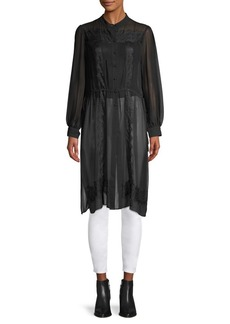 Vince Camuto Embroidered Button-Front Tunic