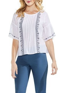 Vince Camuto Embroidered Crinkle Cotton Top (Regular & Petite)