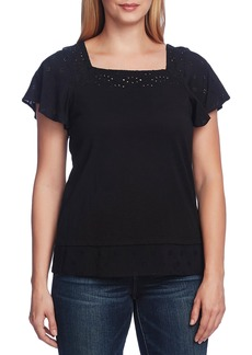 Vince Camuto Embroidered Detail Cotton Blend Layered Top