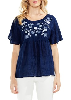 Vince Camuto Embroidered Flutter Sleeve Blouse