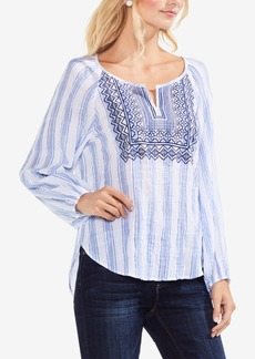Vince Camuto Embroidered High-Low Peasant Top