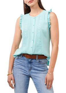 Vince Camuto Embroidered Lace Inset Sleeveless Blouse
