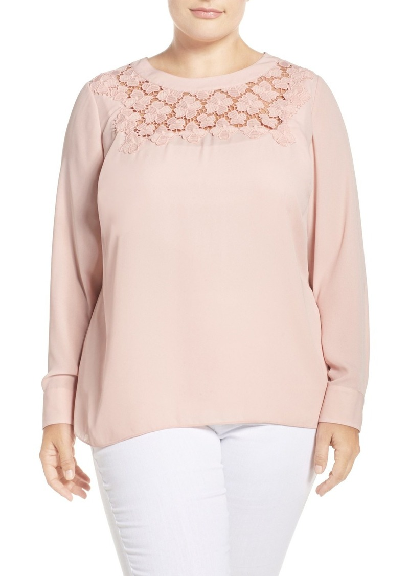 Vince Camuto Embroidered Lace Yoke Blouse (Plus Size)