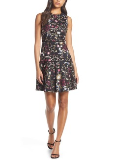 Vince Camuto Embroidered Mesh Fit & Flare Dress