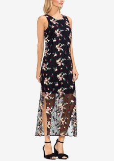 Vince Camuto Embroidered Mesh Maxi Dress