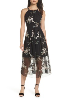 Vince Camuto Embroidered Mesh Midi Dress (Regular & Petite)