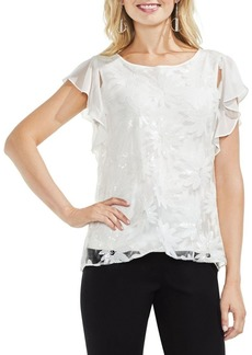 Vince Camuto Embroidered Ruffle-Sleeve Blouse