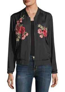 Vince Camuto Embroidered Satin Bomber Jacket